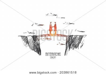 Outsourcing concept. Hand drawn people working at outsource. Persons shaking hands isolated vector illustration.