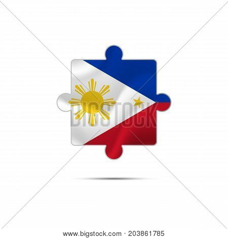 Isolated piece of puzzle with the Philippines flag. Vector illustration.