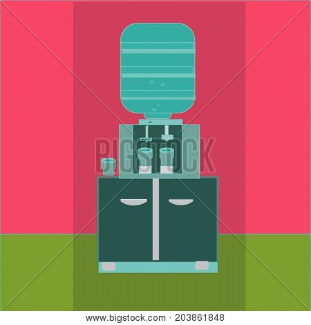 water cooler with blue full bottle. vector illustration in flat design in interior background, with shadow. icon