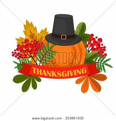 Happy Thanksgiving Celebration Design cartoon autumn greeting harvest season holiday banner vector illustration. Traditional food dinner seasonal thanks giving poster.
