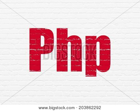 Software concept: Painted red text Php on White Brick wall background