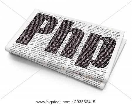 Software concept: Pixelated black text Php on Newspaper background, 3D rendering