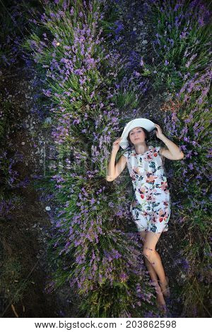 Romantic Slender Woman Lies On Lavender Field