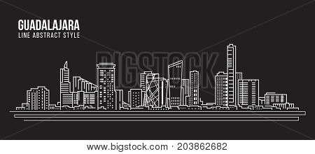Cityscape Building Line art Vector Illustration design - Guadalajara city