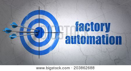 Success Industry concept: arrows hitting the center of target, Blue Factory Automation on wall background, 3D rendering