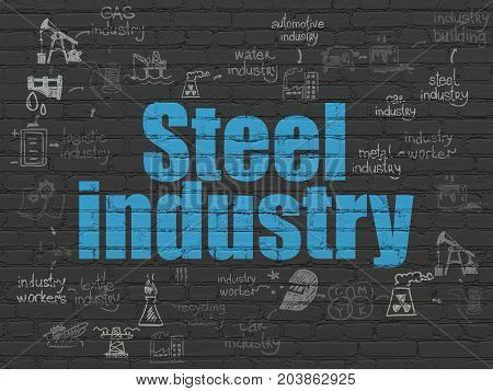 Industry concept: Painted blue text Steel Industry on Black Brick wall background with Scheme Of Hand Drawn Industry Icons