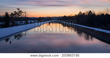 Isar River Channel At Sunset