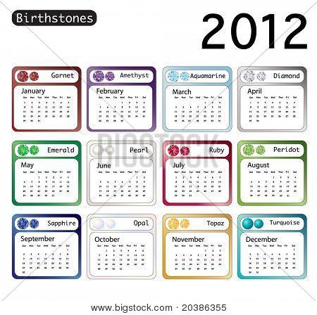 Kalendář 2012 zobrazeno birthstones za každý ukončený měsíc. EPS10 vektorový formát.
