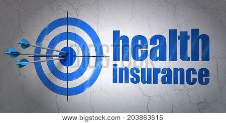 Success Insurance concept: arrows hitting the center of target, Blue Health Insurance on wall background, 3D rendering