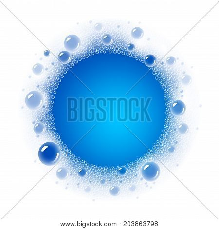 Soap foam overlying on the background of a blue water color. Transparent vector frame. Eps10. RGB. Global colors