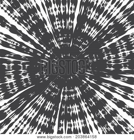 Grunge Ink Hand Drawn Radial Decorative Psychedelic Texture Vector Abstract Background