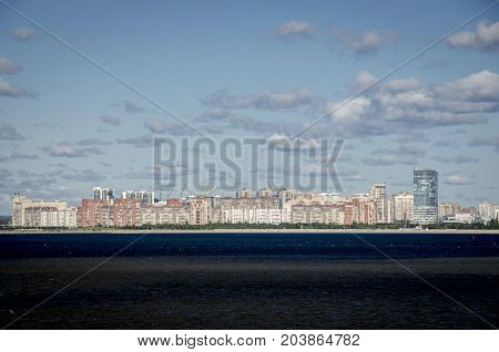 Apartment blocks along the coastline of Saint Petersburg Russia