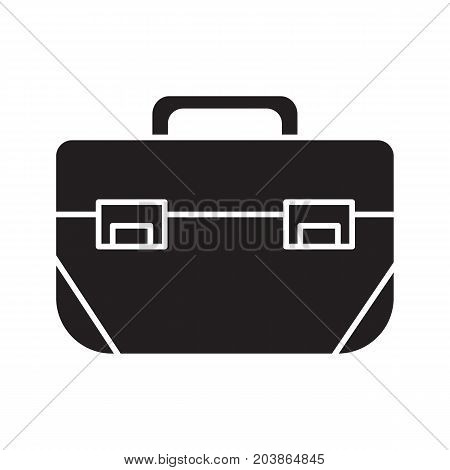 Tool box glyph icon. Silhouette symbol. Negative space. Construction toolkit. Vector isolated illustration