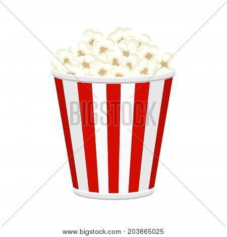 Colorful vector popcorn bucket full of popcorn items. Tasty fast food unhealthy meal.