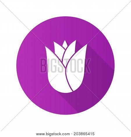 Rosebud flat design long shadow glyph icon. Rose flower head. Vector silhouette illustration