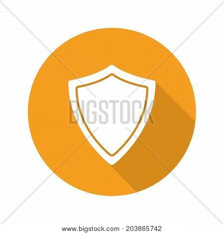 Protection shield flat design long shadow glyph icon. Security. Vector silhouette illustration