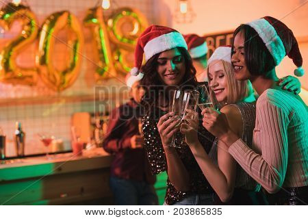 Multicultural Women With Glasses Of Champagne