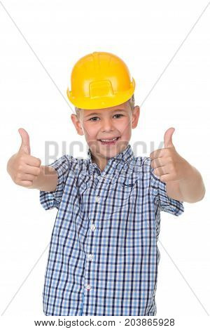 Cute teenager boy in blue checkered shirt and building helmet over white isolated background, half body, constructing concept.