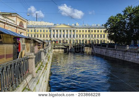 Canal at the back of the market in St Petersburg Rusia