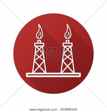 Gas towers flat linear long shadow icon. Gas derrick. Vector outline symbol