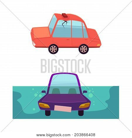 vector flat cartoon car accident set. stylized drowing car. Automobile with brick fallen to its roof, dented it and made crack in side window. Isolated illustration on a white background.
