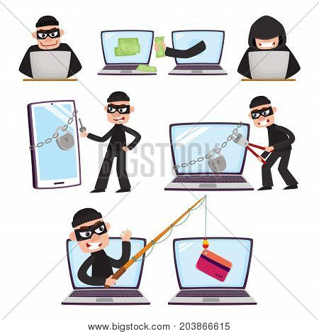 Hacker using laptop, stealing credit card information, money, fishing, breaking PIN code, cartoon vector illustration isolated on white background. Computer hacker stealing, breaking, attacking