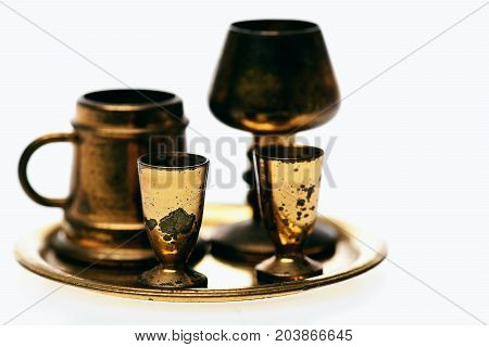 Set Of Antique Chalice, Goblets And Beer Pint On Tray