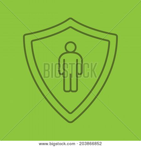 Bodyguard linear icon. Man inside protection shield. Thin line outline symbols on color background. Vector illustration