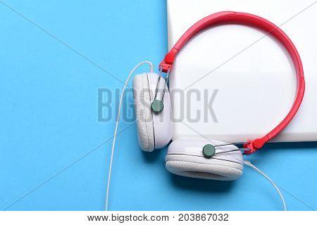Headphones And Silver Gadget. Sound Recording Idea