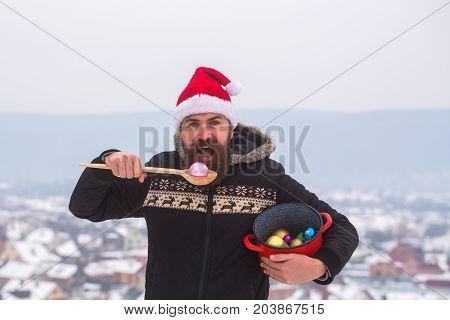 Hipster With Wooden Spoon And Pot