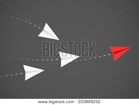 Minimalist stile red paper airplane show direction for white ones. Leader, boss, manager, winner concept. Vector illustration