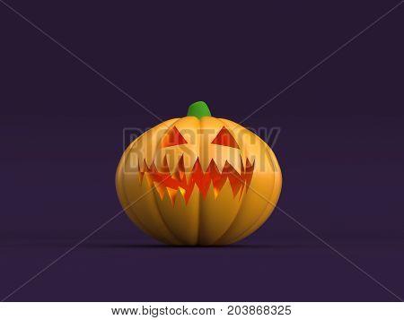 3D illustration - Halloween pumpkin on purple background.