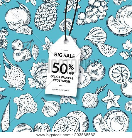 Vector doodle handdrawn fruits and vegetables vegan, healthy food sale background with hanging sale tag. Vegetable and fruit pattern and sale tag label illustration