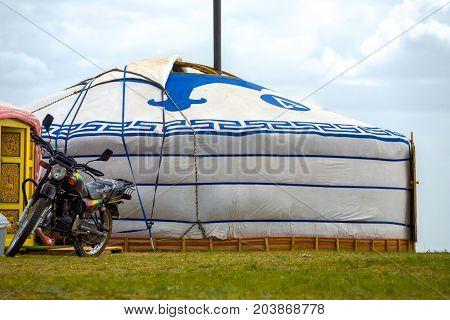 Parked Motorcycle Outside Door Mongolian Yurt Tent