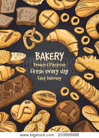 Illustration of bakery foods on black chalkboard. Poster or template of design menu. Fresh bakery food, bread and loaf, bun and croissant vector