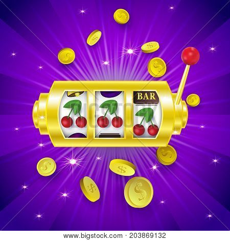 Casino banner, poster design with slot machine showing a winning combination with three cherry signs, vector illustration. Jackpot slot machine, winning combination, three cherry signs, banner design