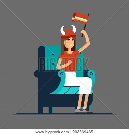 Vector flat illustration people character sport fans watching tv on cozy chair. Young woma with fan accessories