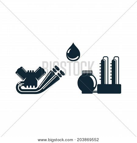 vector oil fuel drop, gasoline engine, refinery simple flat icon pictogram set isolated on a white background. Gas oil fuel, energy power petroleum industry symbol, sign