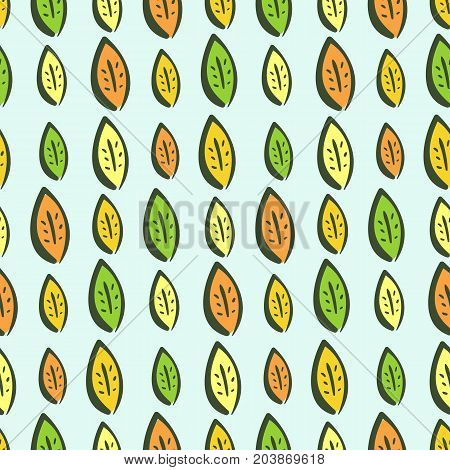 Colorful hand drawn vector autumn leaves seamless pattern. Cute kids texture for textile wrapping paper background surface cover background web design