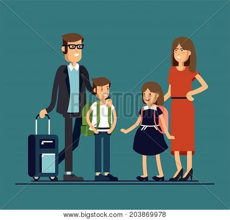 Cool vector flat design family portrait. Family members standing together. Teenage girl, school age boy and standing together. Happy family characters ready to tarvel