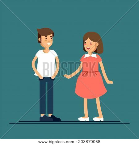 Cool vector character illustration on kids. Cheerful primary school boy and girl smiling. Confident boy and girl friends portrait