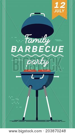 Vector flyer or poster template on family barbecue party. Barbecue cookout event. Spring or summer barbecue weekend celebration poster.