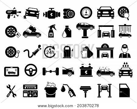 Different details of automobile. Car services icons set. Monochrome vector pictures isolate on white. Collection of icons automobile repair service illustration