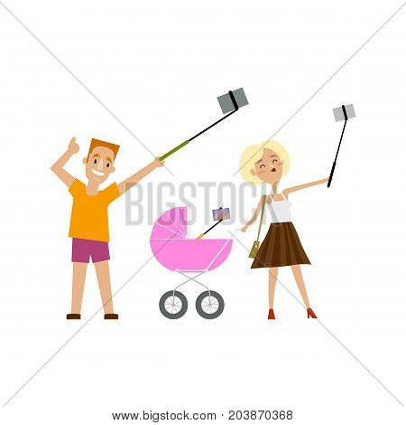 Young father, mother and newborn baby in pram all making selfie with phone and monopod, cartoon vector illustration isolated on white background. Family, man and woman and baby in pram make selfie