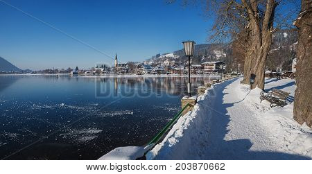 Idyllic Lakeside Promenade At Spa Town Schliersee, Winter Landscape