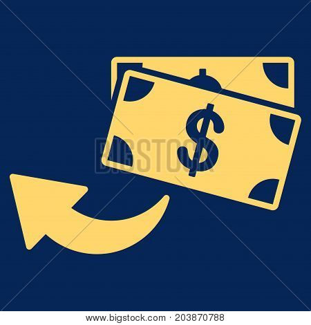 Cashback vector icon. Flat yellow symbol. Pictogram is isolated on a blue background. Designed for web and software interfaces.