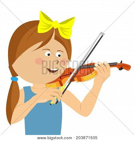 Cute little girl with string playing violin over white background