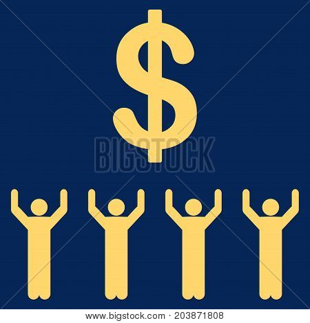 Dollar Religion vector icon. Flat yellow symbol. Pictogram is isolated on a blue background. Designed for web and software interfaces.