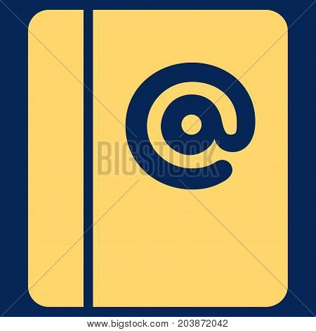 Emails vector icon. Flat yellow symbol. Pictogram is isolated on a blue background. Designed for web and software interfaces.
