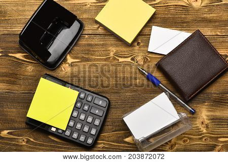 Mans Leather Wallet And Stationery Organized In Circle